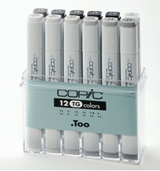 COPIC MARKER SET 12 GRIGI SERIE TG