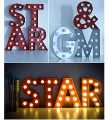Pusher Lettere Star Light Bianche A LUCE GIALLA