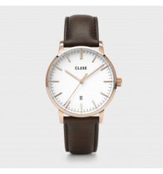 CLUSE ARAVIS LEATHER ROSE GOLD WHITE-DARK BROWN