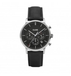 CLUSE CHRONO LEATHER SILVER BLACK-BLACK