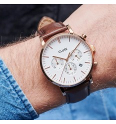 CLUSE ARAVIS CHRONO LEATHER ROSE GOLD WHITE- DARK BROWN