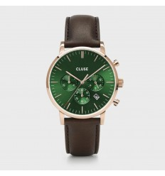 CLUSE ARAVIS CHRONO LEATHER ROSE GOLD GREEN - DARK BROWN