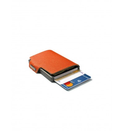 MONDRAGHI SAFFIANO ORANGE STITCHED MINI WALLET.