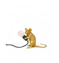 SELETTI MOUSE LAMP GOLD SITTING USB